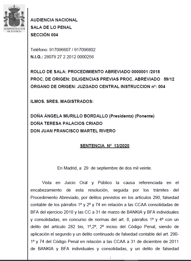 Texto íntegro de la Sentencia del caso Bankia